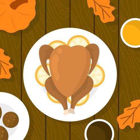 platt tacksägelse mat i tabellen överhead vektor illustration