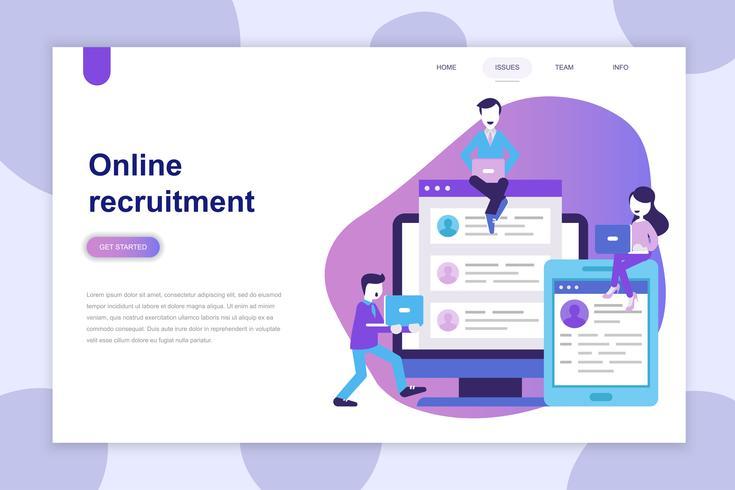 Modernt plandesignkoncept Rekrytering för webbplats och mobilwebbplats. Målsida mall. Kan användas för webb banner, infographics, hjälte bilder. Vektor illustration.