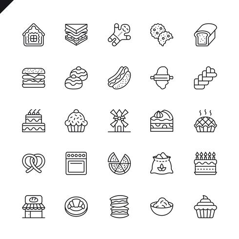 Tunna linjer bakverk butikselement ikoner som anges för webbplats och mobil webbplats och appar. Översikt ikoner design. 48x48 Pixel Perfect. Linjärt piktogrampaket. Vektor illustration.