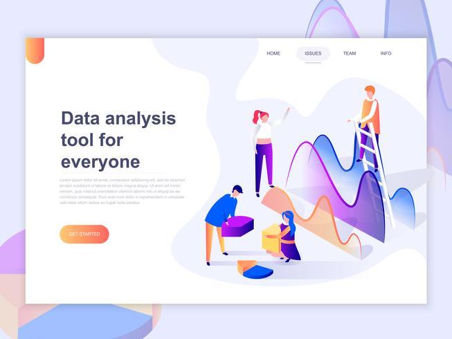 Målsidans mall för dataanalys och kontorsituationer. 3D isometrisk koncept för webbdesign för webbsidor och mobilwebbplatser. Vektor illustration.
