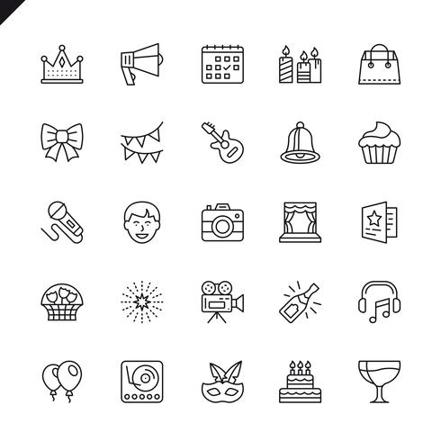 Tunt linjeparti, Födelsedag, ikoner för firandeelement som ställs in för webbplats och mobilwebbplats och -app. Översikt ikoner design. 48x48 Pixel Perfect. Linjärt piktogrampaket. Vektor illustration.
