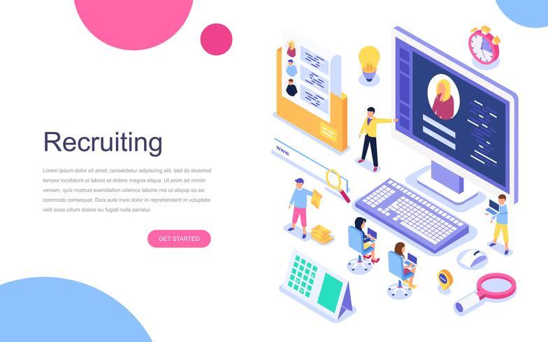 Modern plandesign isometrisk koncept Rekrytering för banner och hemsida. Målsida mall. Arbetsgivare, affärsmän resurser, hr jobb presentation för yrke välja. Vektor illustration.