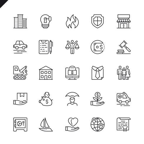 Tunna linje försäkring ikoner som anges för webbplats och mobil webbplats och appar. Översikt ikoner design. 48x48 Pixel Perfect. Linjärt piktogrampaket. Vektor illustration.