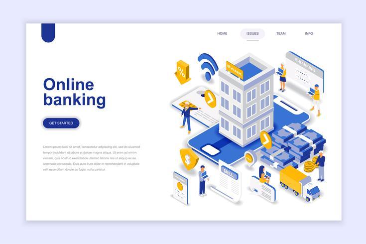 Isometrisches Konzept des modernen flachen Designs des Online-Bankings. Elektronische Bank und People-Konzept. Zielseitenvorlage. Isometrische Begriffsvektorillustration für Netz und Grafikdesign. vektor