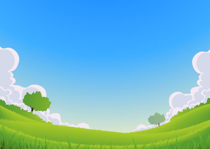 Vår och sommarlandskap - vidvinkel vektor