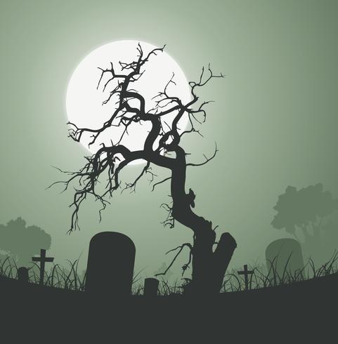 Halloween-gespenstischer toter Baum im Friedhof vektor