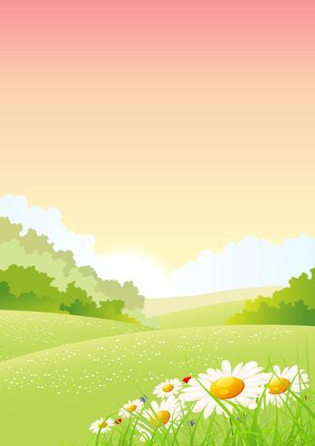Sommer-oder Frühlingsmorgen-Jahreszeit-Plakat vektor
