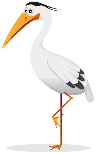 cartoon heron fågel vektor