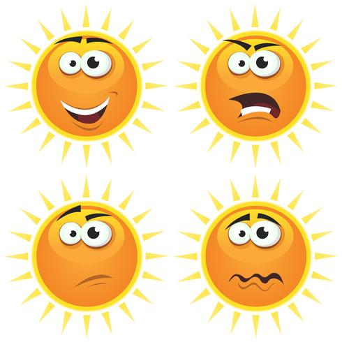 Tecknade Sun Symboler Emotions vektor