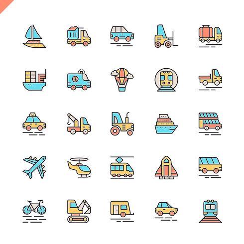 Flache Linie Transport-, Fahrzeug- und Lieferungselementikonen stellten für Website und bewegliche Site und apps ein. Umreißen Sie Ikonenentwurf. 48x48 Pixel Perfekt. Lineare Piktogrammpackung Vektor-illustration vektor
