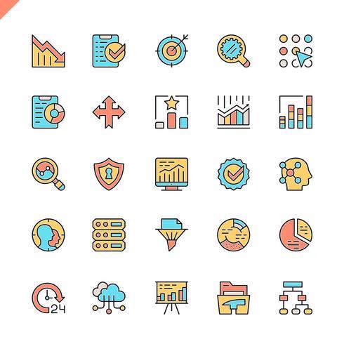 Flache Datenanalyse, Statistiken, Analyse-Icons für Website und mobile Website und Apps. Umreißen Sie Ikonenentwurf. 48x48 Pixel Perfekt. Lineare Piktogrammpackung Vektor-illustration vektor