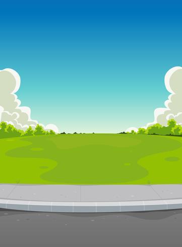 Pflasterung und grüner Park-Hintergrund vektor