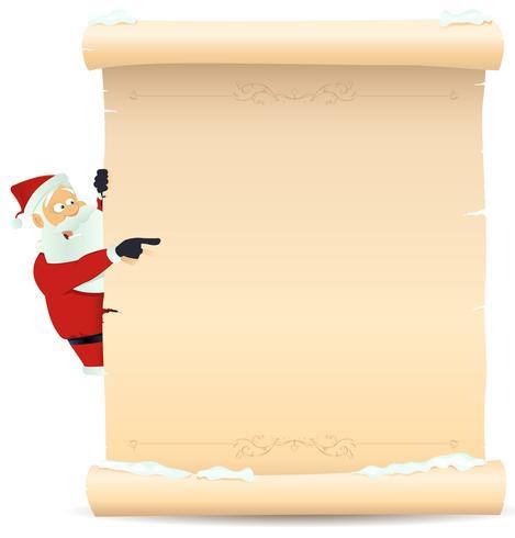 Weihnachtsmann zeigt Weihnachtsliste vektor