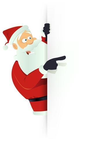 Santa zeigt weißes leeres Zeichen vektor