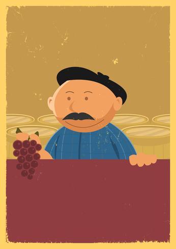 Winzer, der Weinrebe-Plakat hält vektor