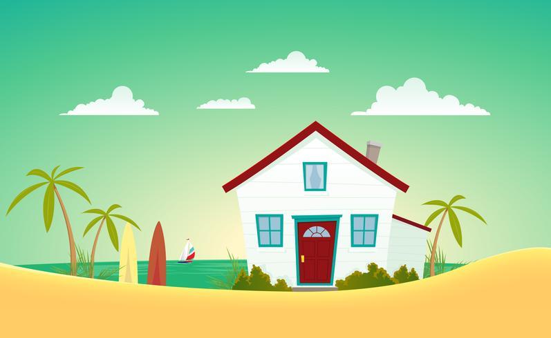 Huset på stranden vektor
