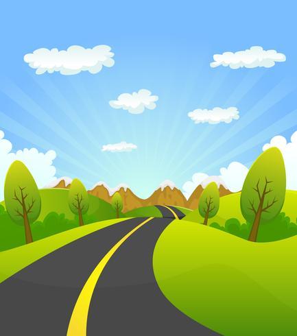 Vår eller sommar väg till berget vektor