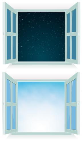 Offenes Fenster - Tag und Nacht vektor