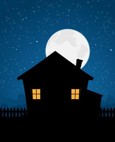 Haus-Schattenbild in der sternenklaren Nacht vektor