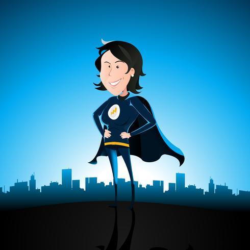 Karikatur-blaue Superlady vektor