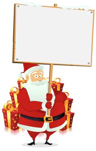 God jul: Santa Claus Holding Wood Sign vektor