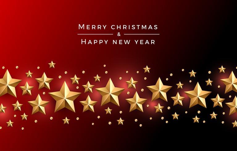 Jul guld stjärnor bakgrund vektor