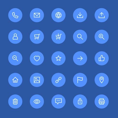 Meist verwendete Webdesign-Icons, UI-Set vektor