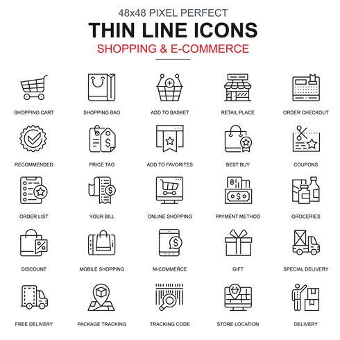 Tunn linje online shopping och e-handels ikoner uppsättning vektor