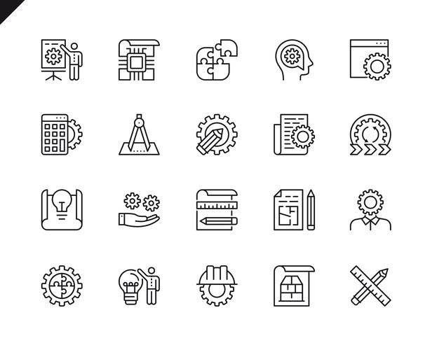 Enkel uppsättning av tekniska designrelaterade vektorlinje ikoner vektor