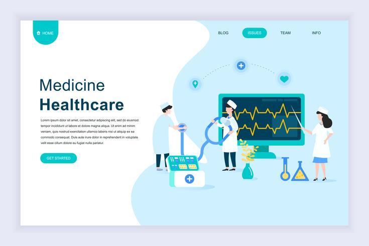 Modernes flaches Designkonzept für Online-Medizin und Gesundheitswesen vektor
