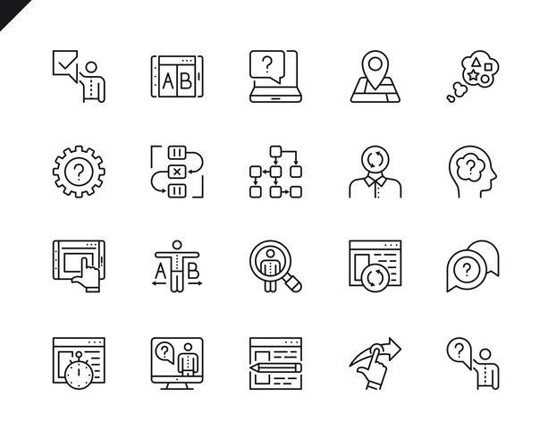Enkel uppsättning UX-relaterade vektorlinje ikoner. Linjärt Pictogram Pack vektor