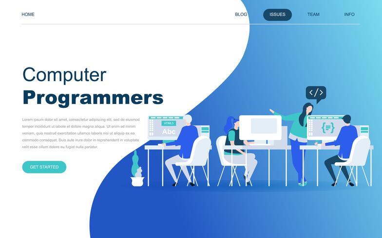 Modernt plattdesign koncept för Datorprogrammerare vektor