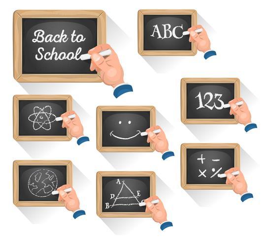 Tafel Zeichen für den Wiedereintritt in die Schule vektor