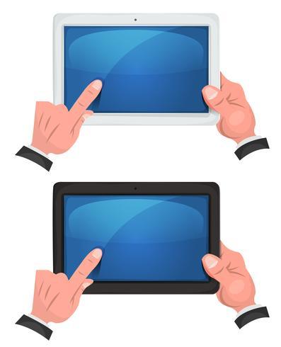 Händer som använder pekskärmen på digital tablett vektor