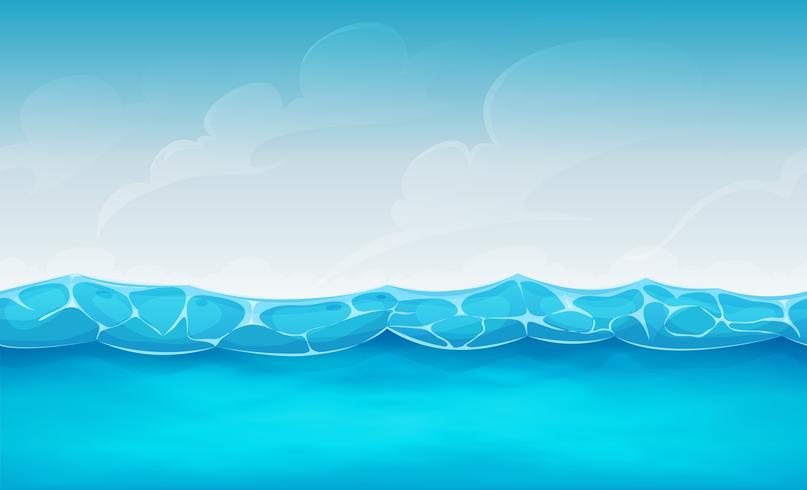 Seamless Summer Ocean Bakgrund För Ui Game vektor