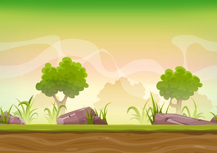 Nahtlose Waldlandschaft für Ui-Spiel vektor