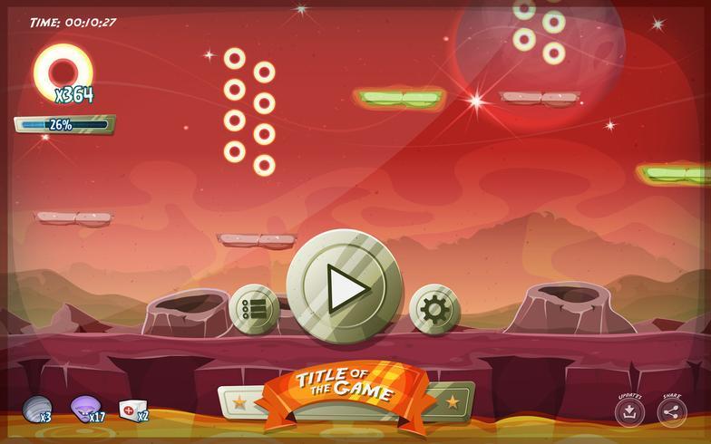 Scifi Platform Game Användargränssnitt för Tablet vektor