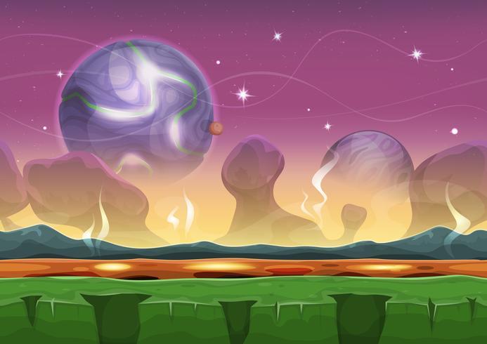Fantasi Sci-Fi Främmande Landskap För Ui Game vektor
