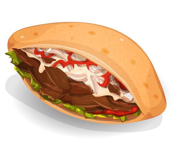 kebab sandwich-ikon vektor
