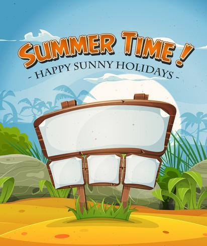 Sommerferien-Strand-Landschaft mit hölzernem Zeichen vektor