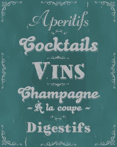 Französische Restaurant-Alkohole und Getränkehintergrund vektor