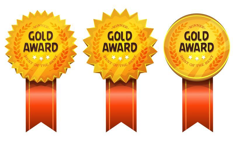Goldpreise für Medaillen und Farbbänder vektor