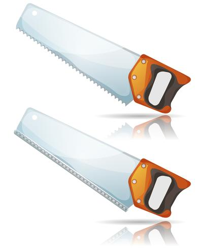 Handsågverktyg med stålblad och tänder vektor