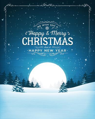 Vintage jul landskap vykort vektor