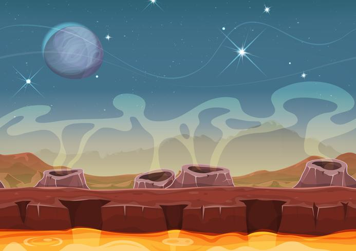 Fantasi Främmande Planet Ökenlandskap För Ui Game vektor