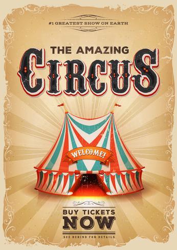 Vintage gammal cirkusaffisch med röd och blå stor topp vektor