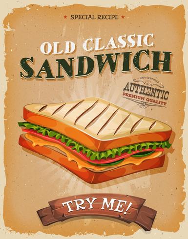 Grunge und Weinlese-Sandwich-Plakat vektor