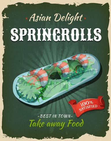 Retro japanisches Springrolls-Plakat vektor