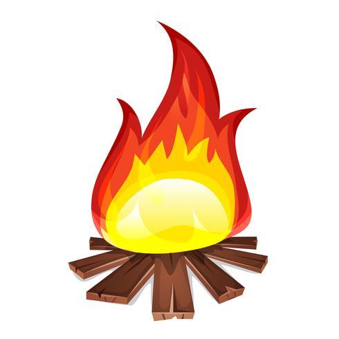 Feuer mit Holzverbrennung vektor