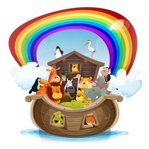 Noahs Arche mit Regenbogen vektor